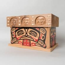 Red Cedar bentwood chest by Nuu-chah-nulth artist Sanford Williams