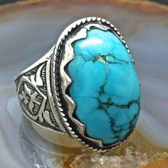 Ringe - Silber Herrenring mit Türkis handgefertigt unikat - ein Designerstück von KaraJewels bei DaWanda