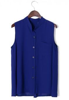 Laidback Pocket Chiffon Top in Blue