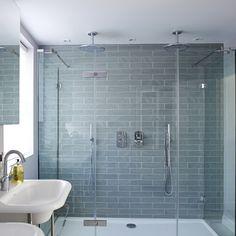 Modern double shower with pale blue tiles - the room edit alcove, bathtub, bathroom Loft Bathroom, Upstairs Bathrooms, Downstairs Bathroom, Bathroom Renos, Bathroom Interior, Small Bathroom, Bathroom Ideas, Tile Bathrooms, Family Bathroom