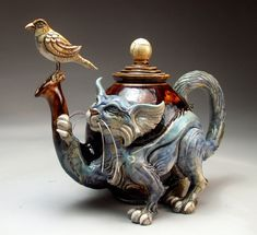 Cat Bird Teapot pottery sculpture folk art by face jug maker Mitchell Grafton