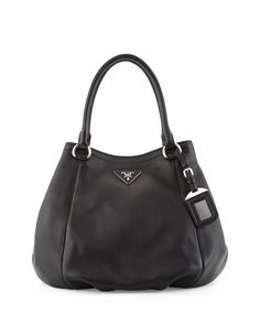 Vitello Daino Small Satchel Bag, Black (Nero), Women's - Prada