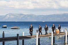 Creative shot of groomsmen with gorgeous scenery by California and New York based Jonathan Young Weddings | via junebugweddings.com