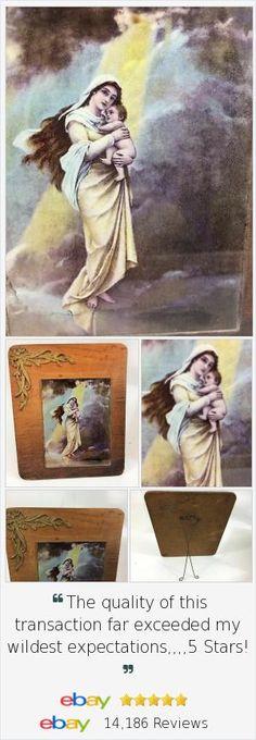 Lovely 1899 antique #Ullman Victorian Bodenhausen #Madonna Reverse Glass Print, Orig Frame