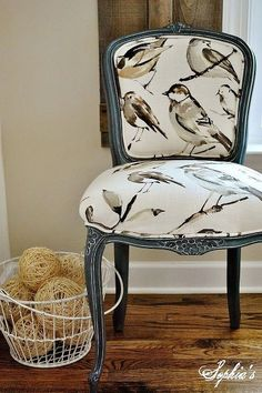 French Chair Makeover and Tutorial Maybe a cane back chair instead and reupholster the seat with this fabric to tie the room together. A neutral lumbar pillow to soften the bold upholstery. Upcycled Furniture, Furniture Projects, Painted Furniture, Diy Furniture, Painted Chairs, Furniture Refinishing, Refurbished Furniture, Furniture Design, Painted Tables