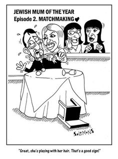 Cartoon for The Jewish News by Paul Solomons. Jewish Mum of the Year episode 2.