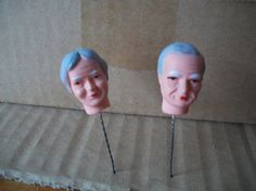 Miniature Resin Grandparent Couple Doll Heads on a Wire, Etsy seller mooglamom