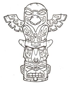hawaiian totem pole coloring pages - photo#17