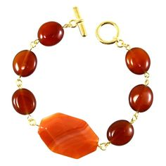 """Terra Different Colors Carnelian and Red Agate Bracelet 7.5"""""""