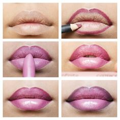 Lilac and pink ombre lip makeup #tutorial #evatornadoblog