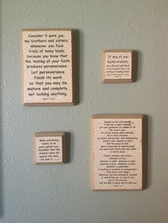 Twitter @hollyhan1  Quotes to inspire Diy wall art: Print on scrapbook paper. Paint wood plaques. Let both dry overnight. Use matte-finish Mod-podge with sponge brush to adhere paper to wood. Smooth flat. To prevent bubbles or uneven finish: Dry at least 2 hrs before applying top coats to seal. Screw brass hook into back of wood to hang.
