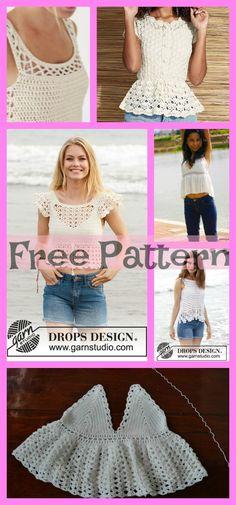 Most Beautiful Lace Tops - Free Pattern 5 Most Beautiful Lace Tops - Free Most Beautiful Lace Tops - Free Pattern Crochet Shirt, Cute Crochet, Beautiful Crochet, Crochet Lace, Crochet Summer Tops, Crochet Tops, Beginner Knitting Patterns, Crochet Woman, Crochet Designs