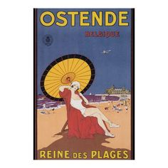 Cafe Retro: Ostend Belgium Rectangle Magnet: Ostend Belgium - Vintage nostalgic travel poster art of old-time hotels & resorts of Europe, Africa, Asia & South Pacific. Retro tourist vacation cities & nature scenery prints, t-shirts & gifts. Party Vintage, Pub Vintage, Vintage Art, Beach Posters, Kunst Poster, E Mc2, Poster Prints, Art Prints, Vintage Travel Posters