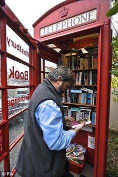 Book exchange at Westbury-sub-Mendip. The Exchange is a disused phone box that has been converted into a library.