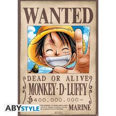 ONE PIECE Poster Wanted Luffy (98x68)