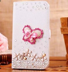 Galaxy S7 Edge - Crystal Gems White Wallet Case in Assorted Designs