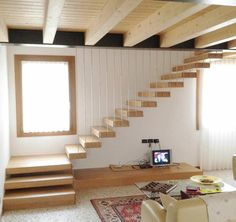 Wooden staircase STL 07 – Home Renovation Loft Staircase, Floating Staircase, Modern Staircase, Stairs In Living Room, House Stairs, Home Stairs Design, Interior Design Living Room, Wooden Staircase Design, Spiral Staircase Dimensions