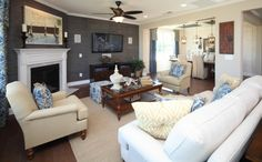 Wall covering; corner fireplace; tv placement
