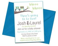 Twin Baby Shower Invitation with Envelopes | Printed Invites and Color Envelopes | Whoo Whoo There's Two!