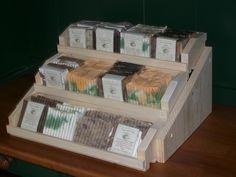 three teir wooden handmade soap display holds 36 plus bars. $29.95, via Etsy.
