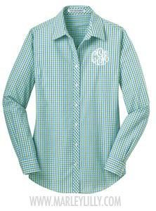 Cute shirt for jeans day during the fall.  Monogrammed Ladies Long Sleeve Gingham Dress Shirt