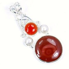 Sterling Silver Mookaite, Carnelian, Simulated Pearl Pendant