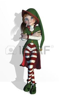 ELF de Santa en una pose relajada, ella puede ser inclinado contra una pared, borde o su producto - procesamiento 3D. photo