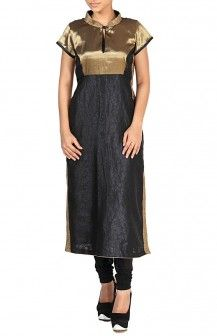 Gold Brocade Yoke With Blue Brocade Anarkali  Rs. 4,740