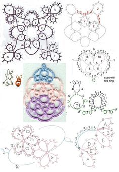 Assorted Motif, pendant & edging patterns - tatting charts only.