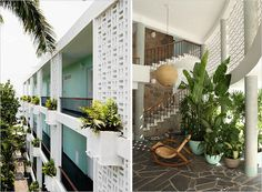 The Boca Chica Hotel in Acapulco.  like the planters on the breeze block wall!