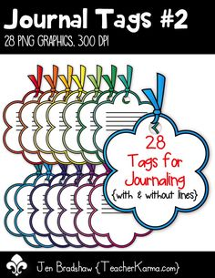 Journal Tags #2 clip art.  These frames come with and without lines for you to add your own text.  They are just perfect for Teachers Pay Teachers sellers, classroom organization and scrapbook designers.   Commercial and personal use is ok.  TeacherKarma.com