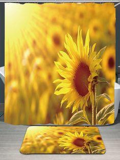 Dawn Sunflowers Pattern Waterproof Shower Curtain