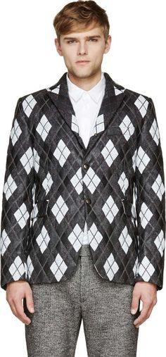 Moncler Gamme Bleu Black & Grey Tweed Painted Argyle Jacket