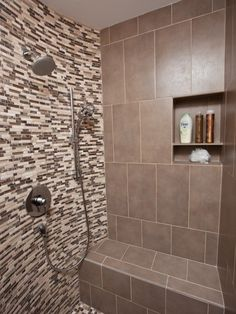 Walk-In Showers with Seats Built In   shower recess built in and seat area   Remodel   Pinterest