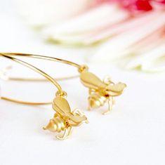 Gold Hoop Earrings, Bee Earrings, Hypoallergenic Earrings, Gold Honey Bee Charms, Summer Fashion, Gift For Girlfriend, Gift For Mom by…