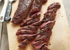 """Grilled Marinated Hanger Steak sometimes labeled """"butcher's steak or """"bistro cut"""" is highly flavorful but needs careful handling to prevent it from being overly chewy. First soak it in a tangy marinade then slice grilled steak thinly a cross the grain. Hanger Steak, Marinated Skirt Steak, Beef Recipes, Cooking Recipes, Skirt Steak Recipes, Cooking Tips, Carne Asada, Beef Dishes, Dinner Recipes"""