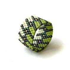 Beaded ring Statement ring Peyote stitch ring por HappyBeadwork