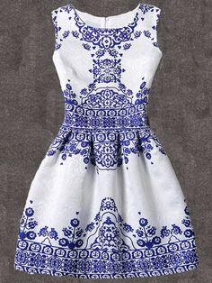 Blue Vintage Pattern Print Fit & Flare Sleeveless DressFor Women-romwe