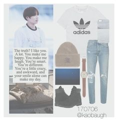 """""""- come back home"""" by kaobaugh on Polyvore featuring adidas Originals, Levi's, Timberland, Acne Studios, J.Crew and Nixon"""