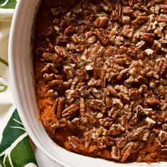 This bourbon sweet potato casserole with buttery pecans has a little less sugar and butter for a boozy, not-too-sweet holiday side dish!