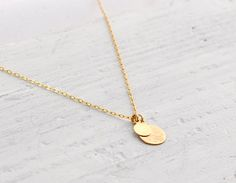 Lamina  hammered brass drops gold filled chain necklace