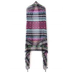 Retro Stripe and Rhombus Pattern Tassel Pashmina #women, #men, #hats, #watches, #belts, #fashion