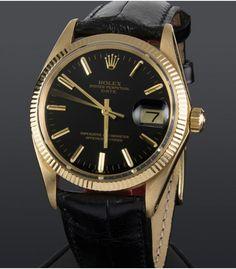 Reloj Rolex Oyster Date Oro y Piel Esfera Negra 1503 Relojes Rolex 4688bcca5451