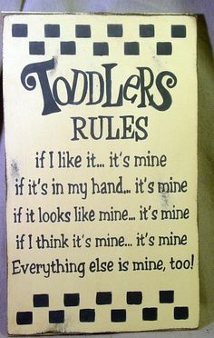 Toddler Rules Sign Killed it, if it looks like mine. Toddler Rules, Great Quotes, Funny Quotes, Toddler Activities, My Children, Baby Love, Wise Words, Favorite Quotes, To My Daughter