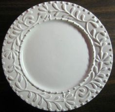 Decorative Dishes - White Raised Leaves Fronds Textured Plate M, $19 ... #LGLimitlessDesign #Contest