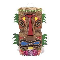 tiki pinata - great entry decoration that can be used to entertain the children later!!