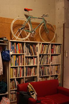 I love the idea of putting a bike as a interior decor