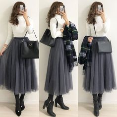 Korean Girl Fashion, Ulzzang Fashion, Muslim Fashion, Japanese Fashion, Cute Fashion, Modest Fashion, Skirt Fashion, Hijab Fashion, Modest Outfits