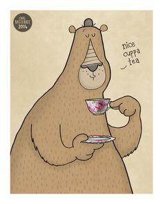 Nice Cuppa Tea Illustration Print by CarlBatterbee #tea #teatime #art