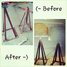 Converted old rusted jack stands to rustic industrial lamps. Lightly sand, apply matte clear coat spray, install lamp kit, purchase your favorite shade and voila a beautiful repurposed lamp!